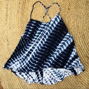 Indigo Tie Dye High Low Tank